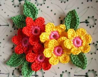 6 Crochet Flowers + 6 leaves Handmade Crochet Appliques, Crochet Flowers in red and yellow with pink center and 6 green leaves -set of 12