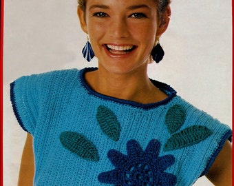 crochet, sweater, pattern, cap sleeves, crochet pattern, pullover, summer sweater,floral applique