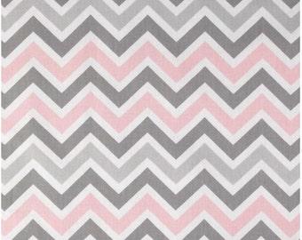 1 Yard Gray and Pink Chevron Fabric - Premier Prints Bella Twill Zoom Zoom Chevron Fabric zig zag ONE YARD