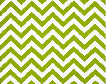 1/2 Yard Green and White Chevron Fabric - Premier Prints Chartreuse and White Zig Zag Chevron Fabric light green lime green HALF YARD