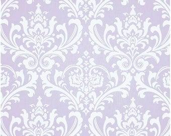 1 Yard Light Purple and White Damask Fabric - Premier Prints Wisteria and White Twill Ozbourne Fabric ONE YARD ozborne osbourne osborne