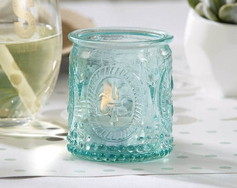 Vintage Blue Glass Votive and Tealight Holder (Set of 8)