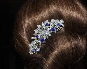 sapphire blue crystal rhinestone bridal hair comb royal blue rhinestone silver hair comb blue wedding hair comb bridal hair accessories blue