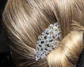 vintage silver bridal hair comb,wedding hair comb,wedding hair accessories,bridal headpiece,crystal wedding comb,rhinestone bridal comb