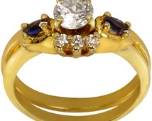 Enhancer Ring Wrap W/ Marquise Sapphire Blue Gems & CZs In Heavy Plated 14k Gold