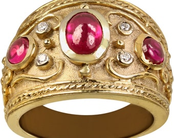 Large Ruby Red Gemstone Cabachon CZ Ring In Wide Heavy 14k Gold Plated Band
