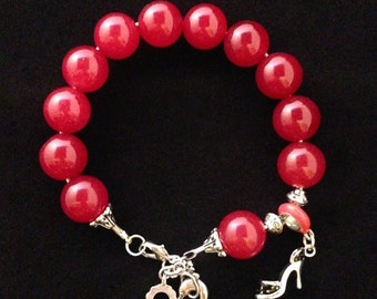 Red Beaded Bracelet with Charms