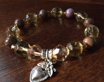 Yellow and Brown Bead Bracelet