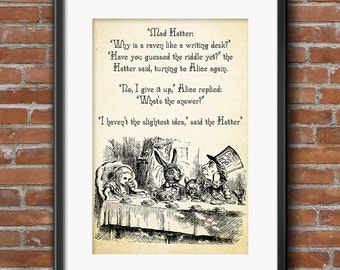 MAD HATTER Quote Why is a Raven like a writing desk?  Alice in Wonderland Quotes Digital Download Instant Art Printable Dorm Wall
