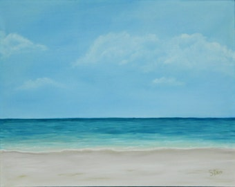 22 x 28 Original Oil Painting - Beach Painting - Seascape - Clouds