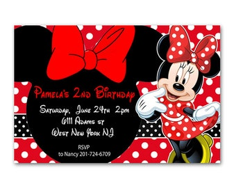 Minnie Mouse Personalized Birthday Invitation - Printable File