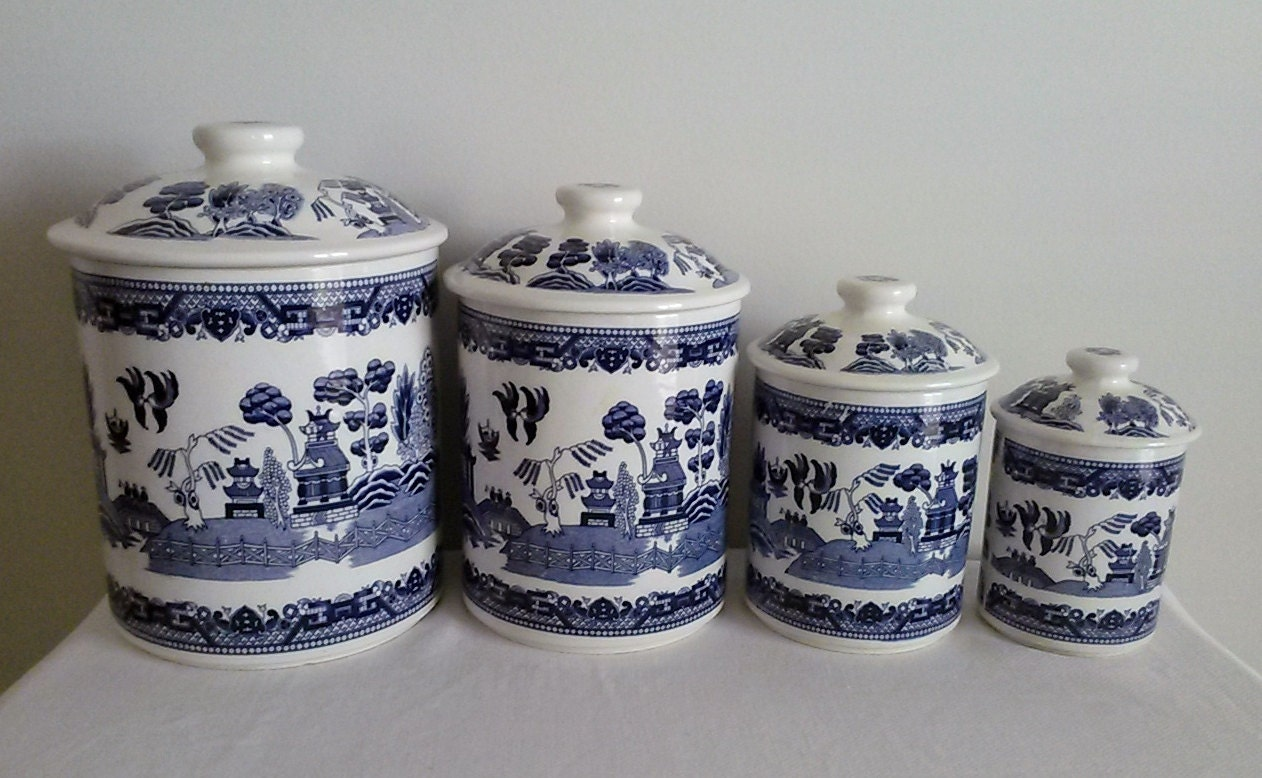 Blue Willow Canister Set Marked 1924 Japan