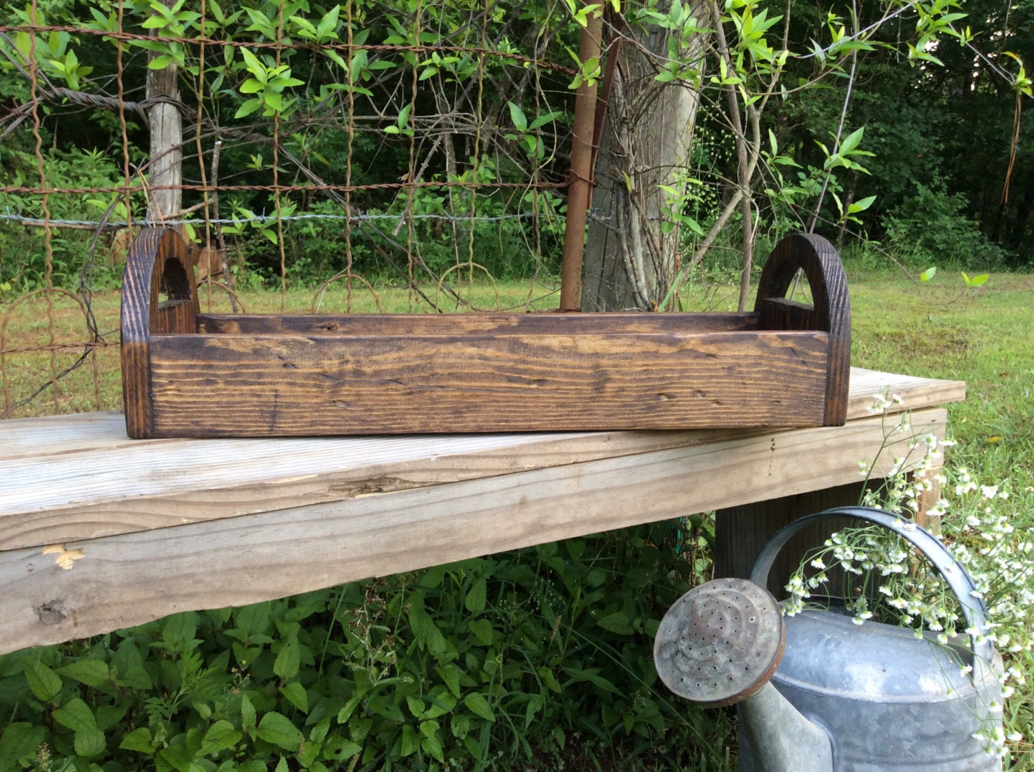 Rustic wood centerpiece trough candle holder organizer