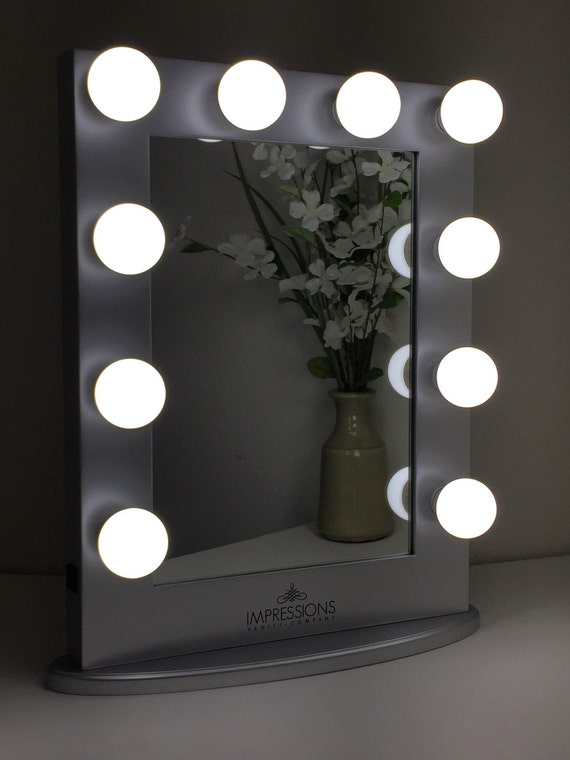 lighted make up vanity table top mirror large silver on etsy. Black Bedroom Furniture Sets. Home Design Ideas