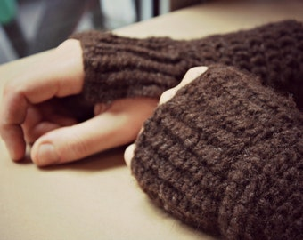 Mitts for Baristas - Coffee-brown Handspun Wool Fingerless Gloves/Hand Warmers from Melbourne