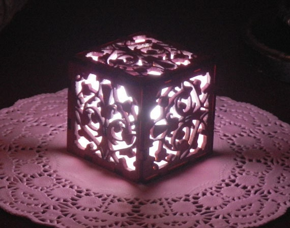 Pink Light Cube with Ultra Bright LED Tea Light in Laser Cut Wood Mini Lantern