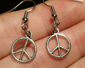 Peace earrings, Tibetan silver,