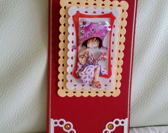 Hand made decoupage 3D standing card