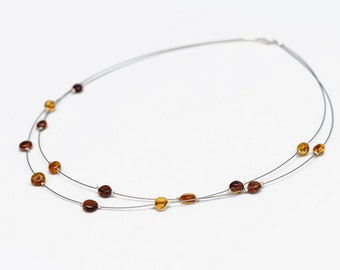 Natural Baltic Amber Necklace Genuine Cognac Beads Silver Steel Line Unique Necklace Gift Jewellery Free USA Shipping Easter
