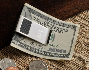 Personalized Silver and Carbon Fiber Money Clip