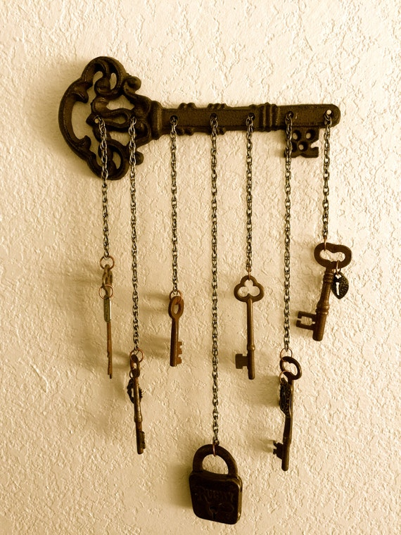 Items similar to skeleton key vintage pad lock wall for Lock and key decor