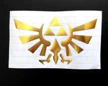 zelda triforce macbook decal, zelda decal, iphone laptop car window decals, gold metallic decal
