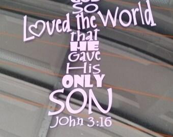 For God So Loved The World John 3:16 Vinyl Decal