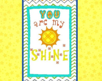 You Are My Sunshine for baby blanket MACHINE EMBROIDERY DESIGN / add your name