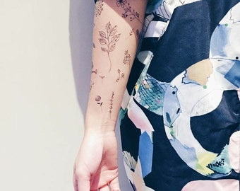 Hand Drawing Fine Line Flowers + Typography Temporary Tattoo