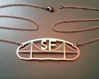 Laser-Cut San Francisco Golden Gate Bridge Necklace