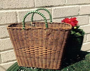 Vintage Straw Basket Bag