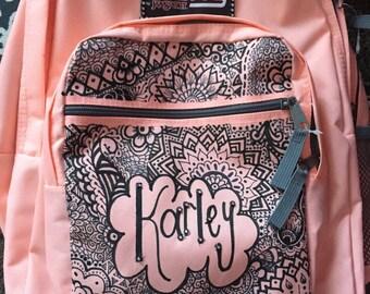 boho inspired backpack w/ name + rhinestones **add name in note to seller**