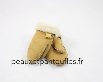 Fingerless mittens in sheep - by peauxetpantoufles.fr