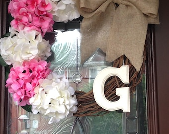 White and Pink Hydrangea Wreath with Burlap Bow and Customizable Initial