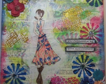 "One of a Kind Mixed Media Collage Canvas - Prima Doll - 10"" x 10"" Canvas"