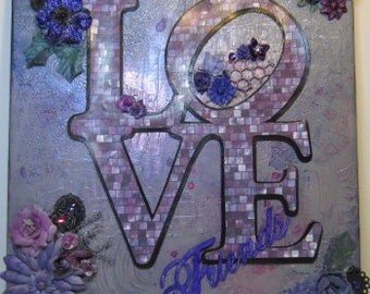 """Original Mixed Media Canvas - """"Love Friends"""" - 12"""" x 12"""""""