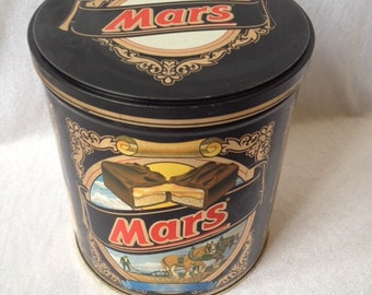 Retro Vintage Mars Tin Canister 7x6.25 Inches