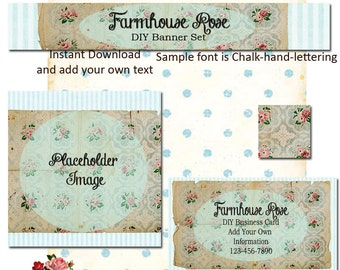 Shabby Wallpaper 4 Piece DIY Shop Banner Avatar and Business Card Graphics Set Instant Download
