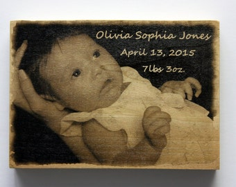 Personalized 5x7 Inch Wood Photo Panel - Your Photos on Wood!