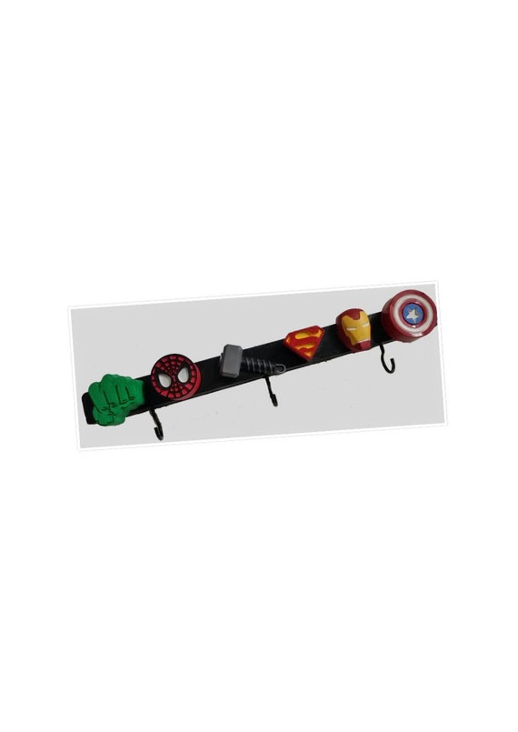 Avengers wall hooks on frame kids wall hooks cape coat hook rack superhero bedroom decor - Kids decorative wall hooks ...