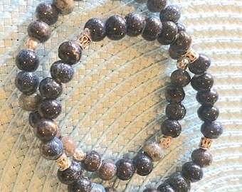 Midnight Blues Ceramic Bead 2 Bracelet Set
