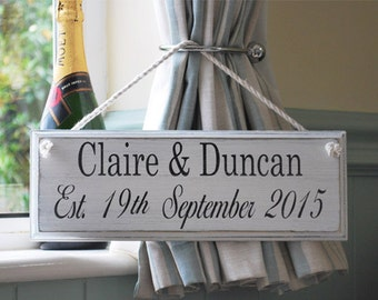 Personalised handmade wooden Wedding name sign
