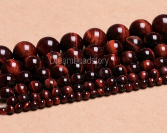 Red Tiger Eye Beads, Round Red Stone Beads, 2 4 6 8 10 12 14mm Mahogany Red Tiger Eye Gemstone Beads for Necklace, Bracelet Making (B87)
