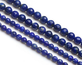 Not Dyed Faceted Lapis Beads, Full Strand Natural Blue Lapis Lazuli Beads with 128 Facets, 6mm Blue Gemtone Beads in Bulk Supplies (B149)