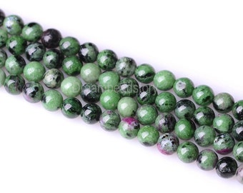 Ruby Zoisite Beads, Natural Rubychrosite Beads, 4mm 6mm Genuine Ruby in Zoisite Beads, Green and Red Gemstone Beads, Meditation Beads