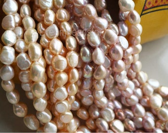 Pearl Loose Beads, Large Pearl Beads, Genuine Cultivated Pearl, One Full Strand, 11-12mm Baroque Pearl Beads for Jewelry Making