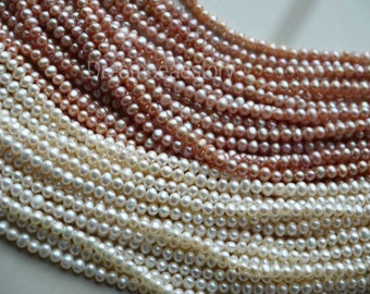 Freshwater Pearls String Beads, Small Size Pearl Beads, Off Round Pearls, White Pearl Beads, Pink Pearl Beads in Bulk Wholesale (ZZ61/ZZ62)