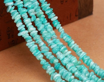 AA Natural Amazonite Beads, Genuine Amazonite Chips, Irregular Small Pebble Beads, Blue Green Gems Strand Supplies(Y215)