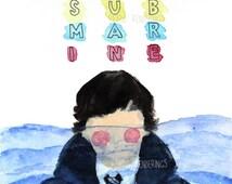 Submarine movie art print, watercolour, acrylic, poster
