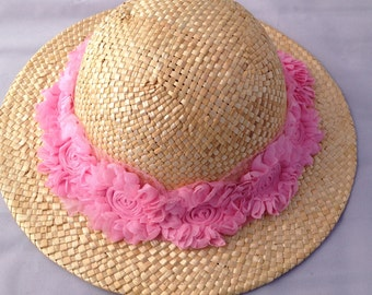 Straw, Sun Hat, with pink floral band